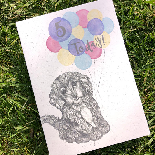 5th Birthday Puppy Card