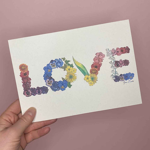 LOVE Mothers Day Flowers Card