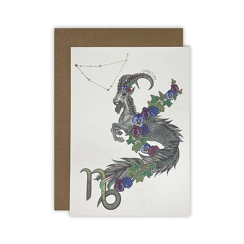 Capricorn Mountain Goat Zodiac Card