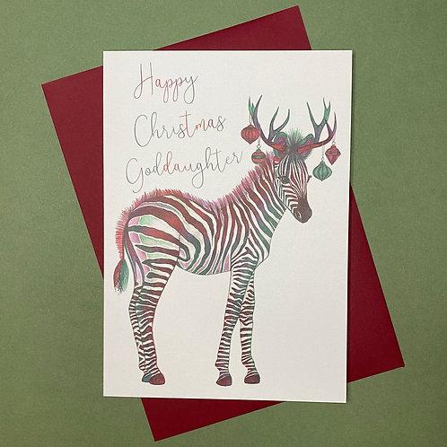 Christmas Zebra Goddaughter Card