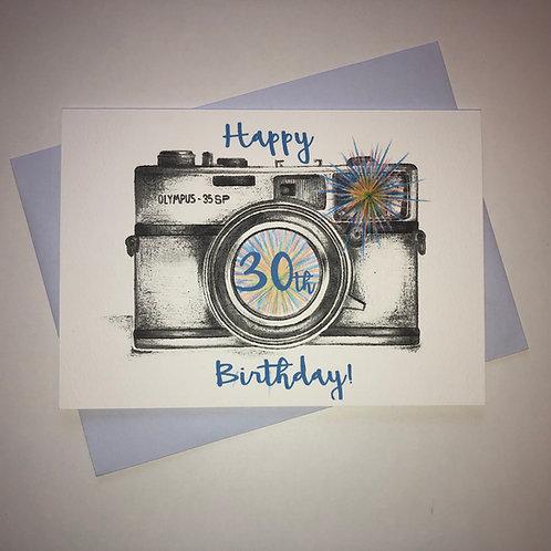 30th Birthday Camera Card-Blue