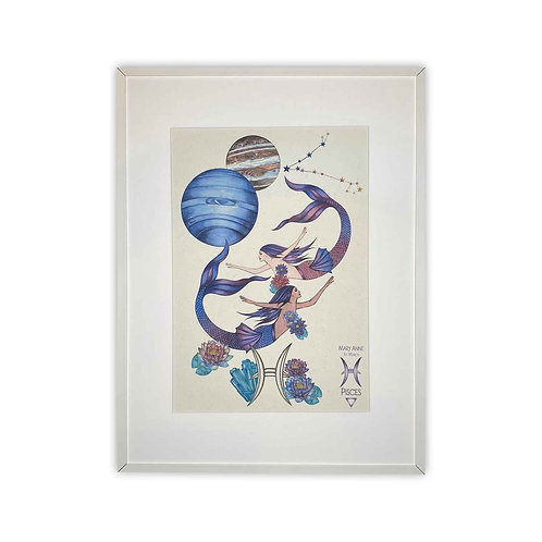 Pisces Mermaid Zodiac Print