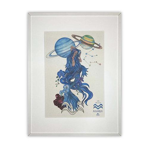 Aquarius Mermaid Zodiac Print