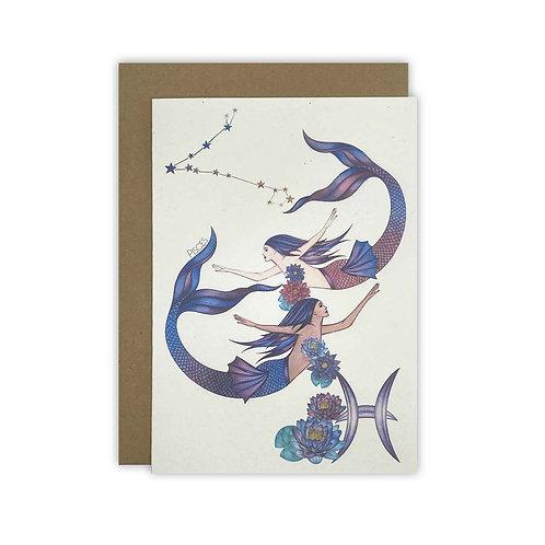 Pisces Mermaid Zodiac Card/ Mini Print