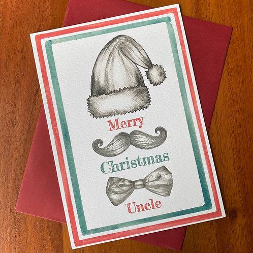 Uncle Christmas Card- Moustache Bow Tie