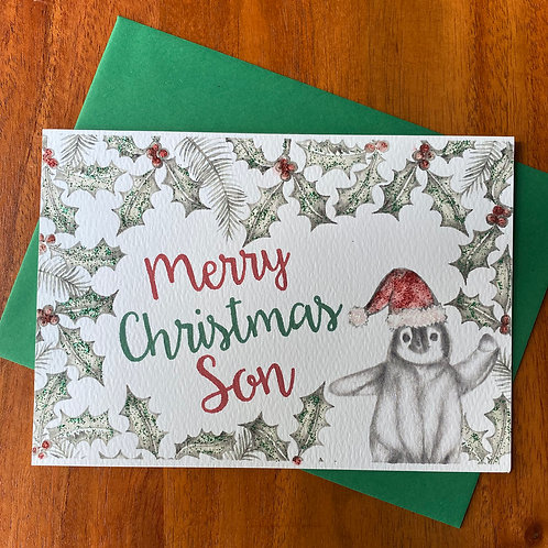 Son Christmas Card- Penguin with Holly Border