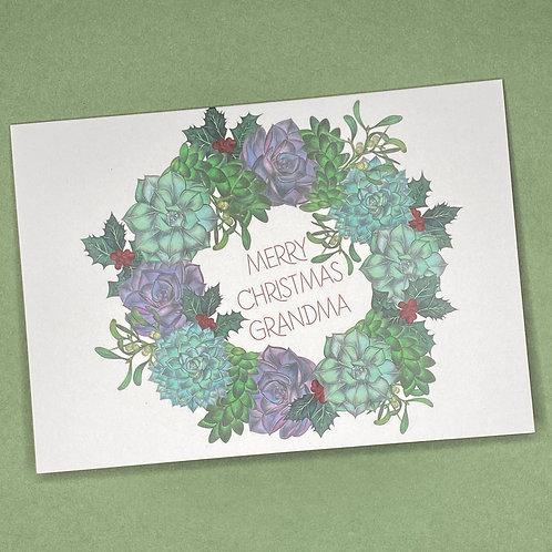 Succulent Wreath Grandma Christmas Card