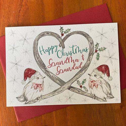 Grandma & Grandad Christmas Card- Robins