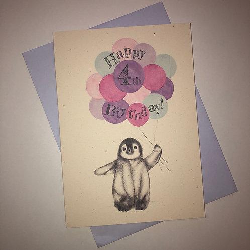 4th Birthday Penguin Card