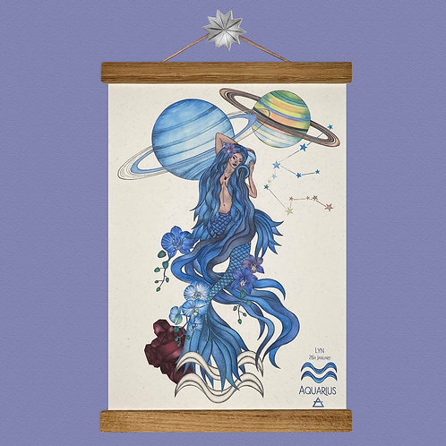 Aquarius Mermaid Zodiac Print