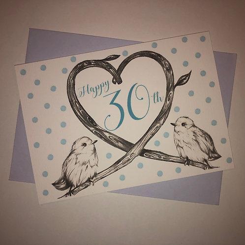 30th Birthday Birds Card