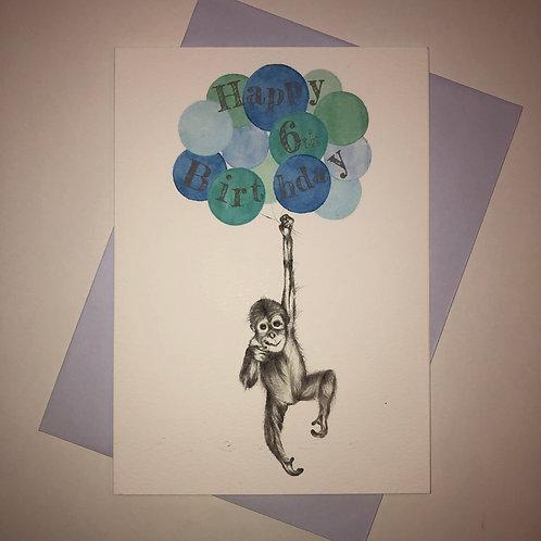 6th Birthday Orangutan Card