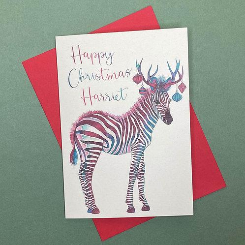 Personalised Christmas Zebra Card- Add Any Name!