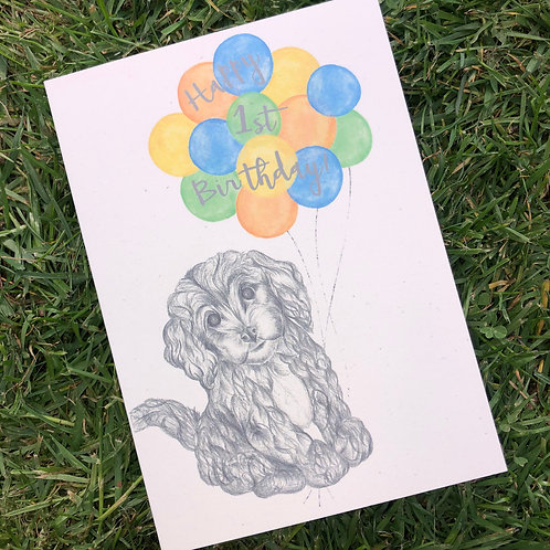 1st Birthday Puppy Card