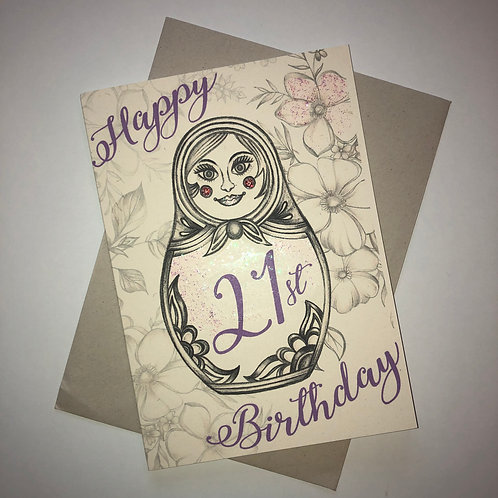 21st Birthday Russian Doll Card