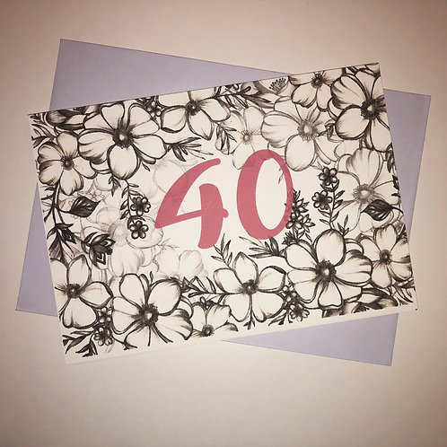 40th Birthday Flower Card