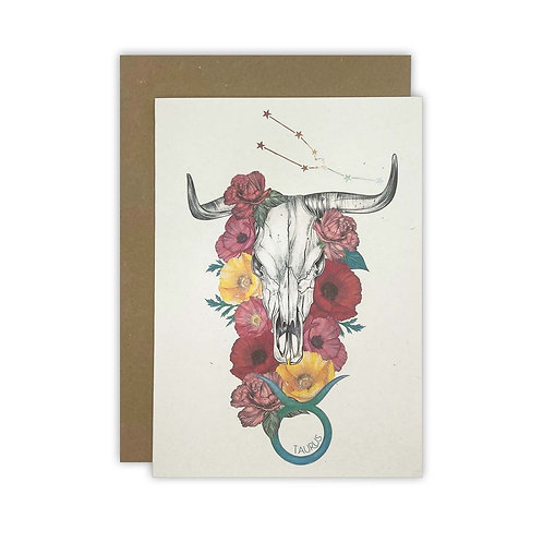 Taurus Skull Zodiac Card