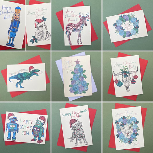 Pack of 10 Personalised Christmas Cards