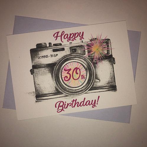 30th Birthday Camera Card-Pink