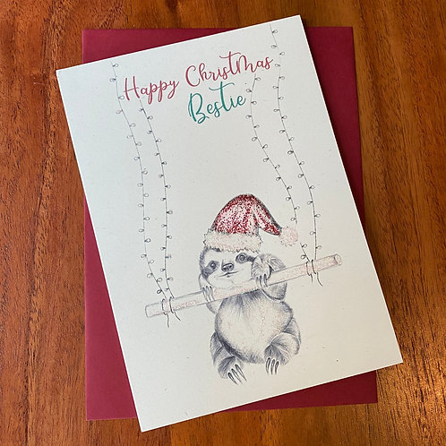 Bestie Christmas Card- Sloth