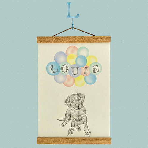 Personalised Labrador Puppy Balloon Print