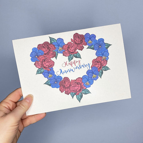 Roses and Violets Anniversary Card