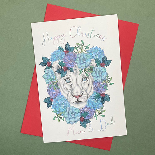 Personalised Christmas Lion Card- Add Any Name!