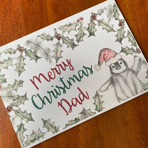 Dad Christmas Card- Penguin with Holly Border