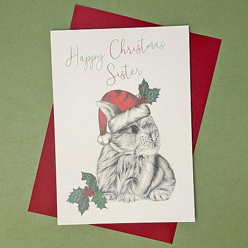 Christmas Bunny Sister Card
