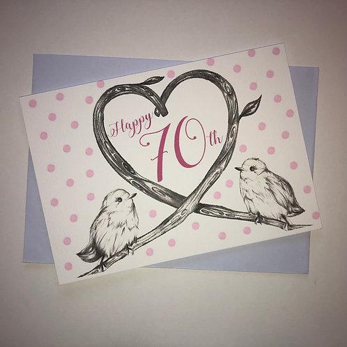70th Birthday Birds Card