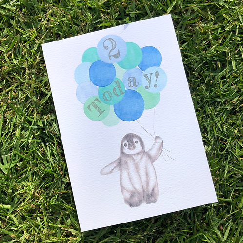 2nd Birthday Blue Penguin Card