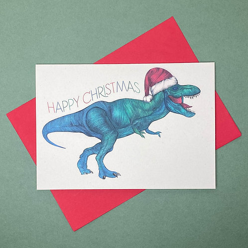 NEW! T-Rex Christmas Card