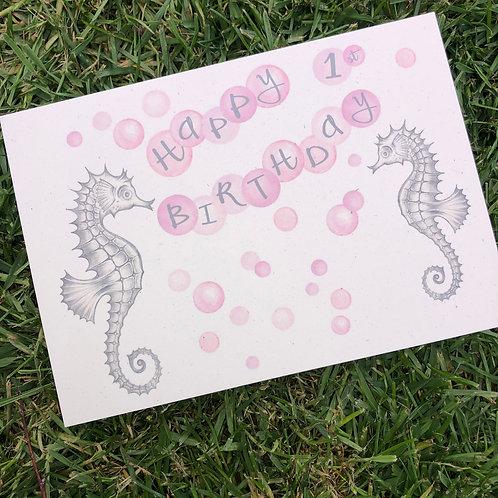 1st Birthday Pink Seahorse Card