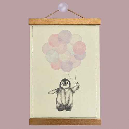Penguin Pink Balloon Print