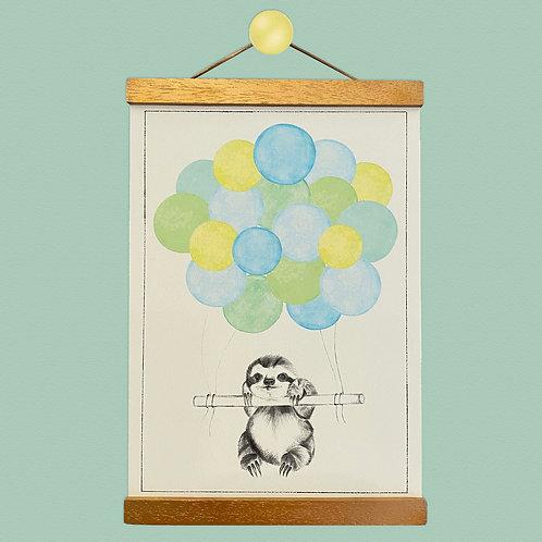 Sloth Balloon Print