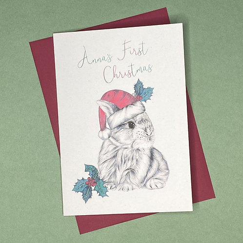 Personalised Baby's First Christmas Bunny Card- Add Any Name!