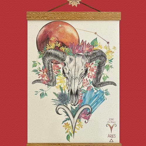 Aries Ram Skull Zodiac Print