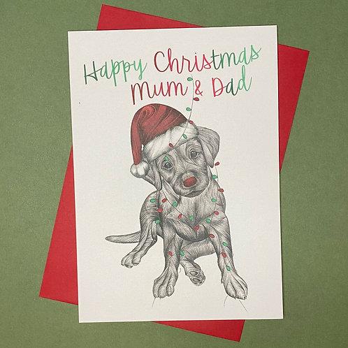 Christmas Labrador Mum & Dad Card