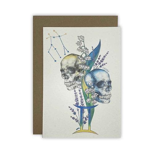 Gemini Skulls Zodiac Card