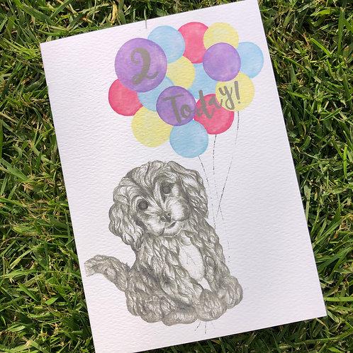 2nd Birthday Puppy Card