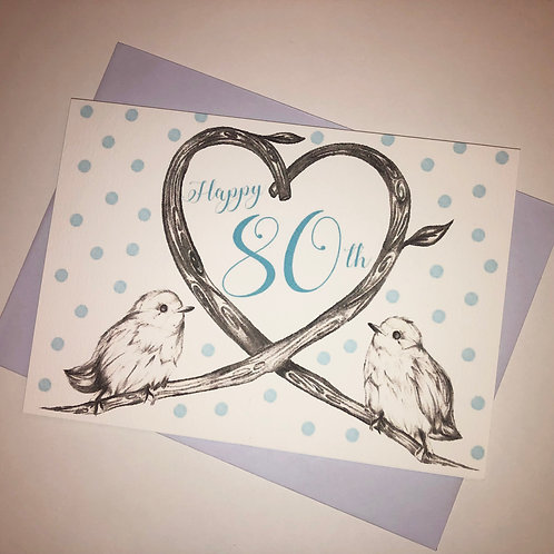80th Birthday Birds Card