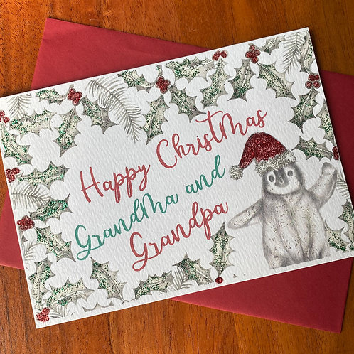 Grandma & Grandpa Christmas Card- Penguin with Holly Border
