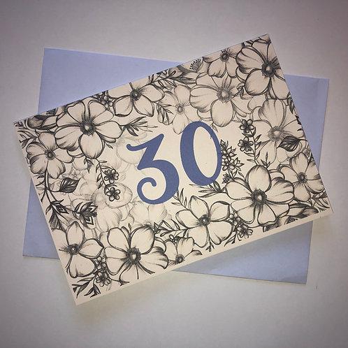 30th Birthday Flower Card