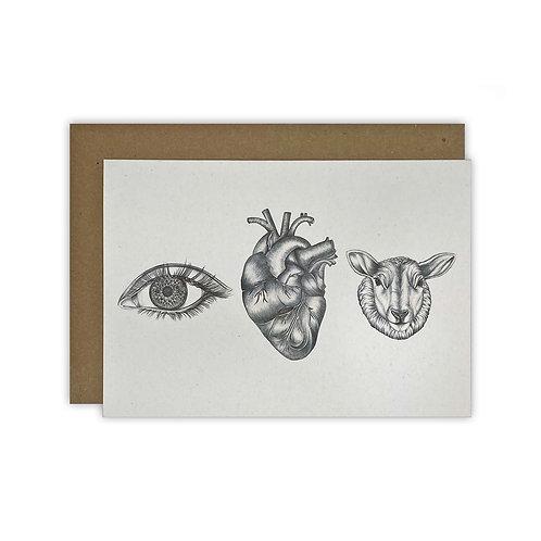 'Eye Heart Ewe' BW Card