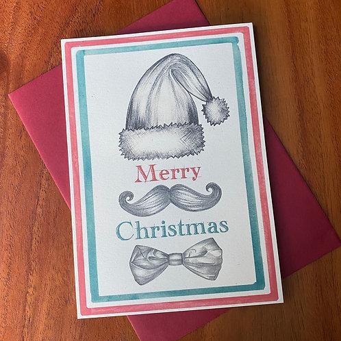 Moustache Bow Tie Christmas Card
