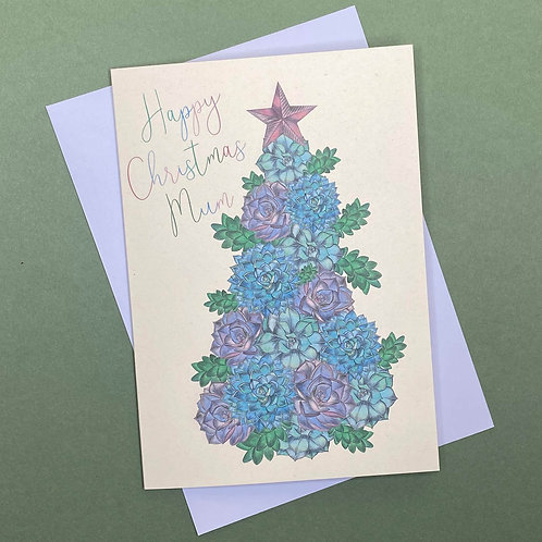 Personalised Succulent Christmas Tree Card- Add Any Name!