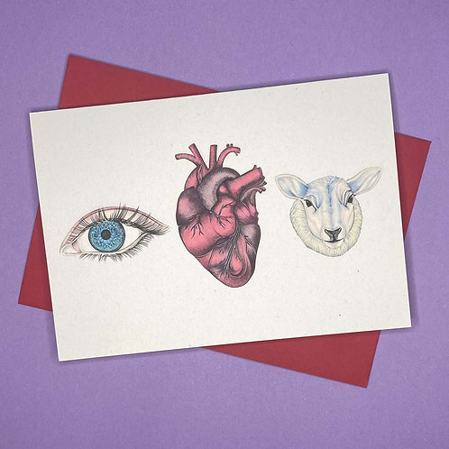 'Eye Heart Ewe' Colour Card