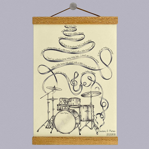 Personalised Drum Kit Lyrics Print