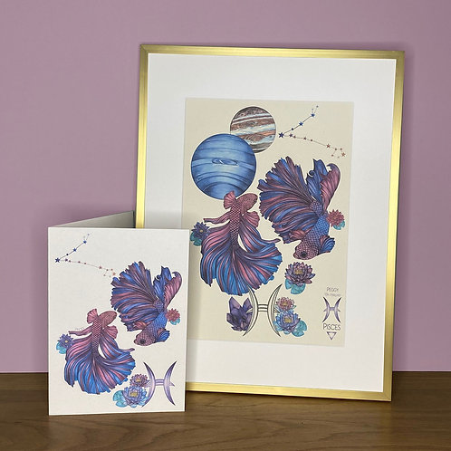 Pisces Zodiac Print and Card Set