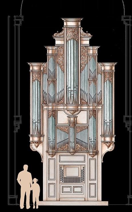 l'orgue de charolles : dessin du buffet